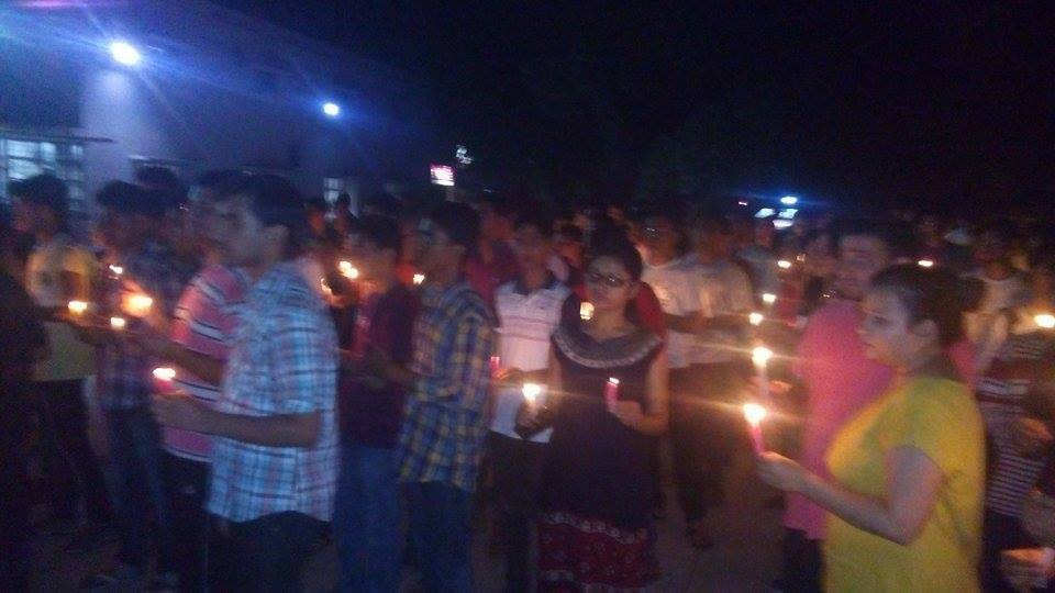 Candle march by students
